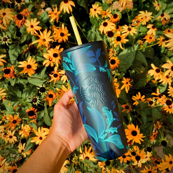 ✨NEW✨ Starbucks Green Floral Stainless Steel Fall